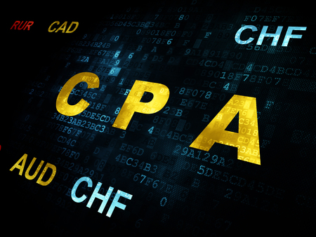 cpa: Business concept: Pixelated yellow text CPA on Digital wall background with Currency Stock Photo