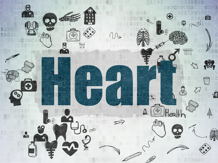 healing process: Healthcare concept: Painted blue text Heart on Digital Paper background with Scheme Of Hand Drawn Medicine Icons