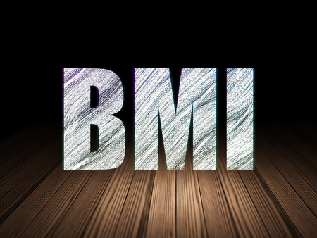 bmi: Healthcare concept: Glowing text BMI in grunge dark room with Wooden Floor, black background