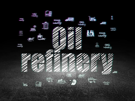 dirty room: Industry concept: Glowing text Oil Refinery,  Hand Drawn Industry Icons in grunge dark room with Dirty Floor, black background
