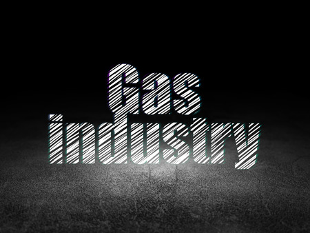 dirty room: Industry concept: Glowing text Gas Industry in grunge dark room with Dirty Floor, black background
