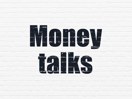 conversaciones: Concepto de negocio: Pintado texto Money Talks negras sobre fondo blanco de la pared de ladrillo Foto de archivo