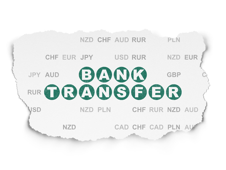 bank overschrijving: Money concept: Painted green text Bank Transfer on Torn Paper background with  Currency