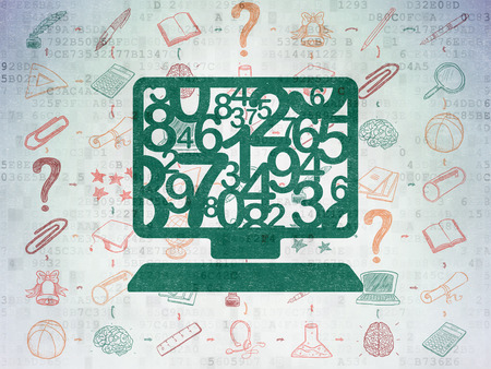 computer education: Education concept: Painted green Computer Pc icon on Digital Paper background with Scheme Of Hand Drawn Education Icons Stock Photo