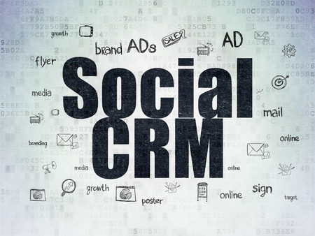 crm: Marketing concept: Painted black text Social CRM on Digital Paper background with  Hand Drawn Marketing Icons