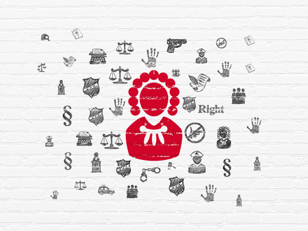 ley: Law concept: Painted red Judge icon on White Brick wall background with  Hand Drawn Law Icons