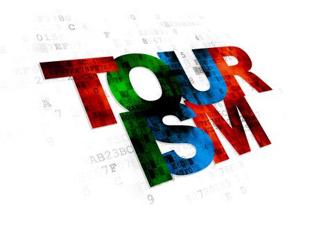 agencia de viajes: Concepto de las vacaciones: multicolor texto de turismo de Pixelated en el fondo digital