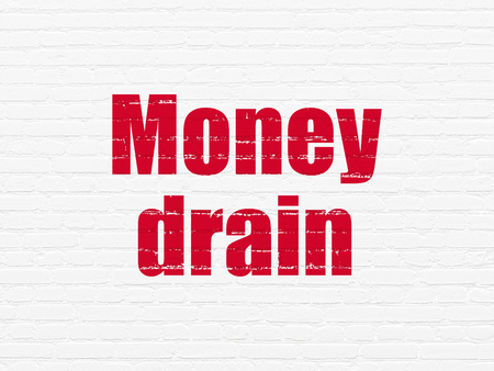 pay wall: Banking concept: Painted red text Money Drain on White Brick wall background