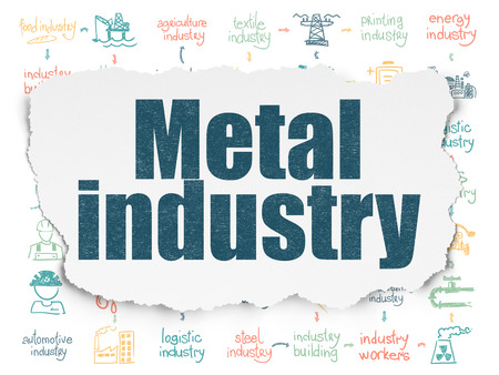 torn metal: Industry concept: Painted blue text Metal Industry on Torn Paper background with Scheme Of Hand Drawn Industry Icons