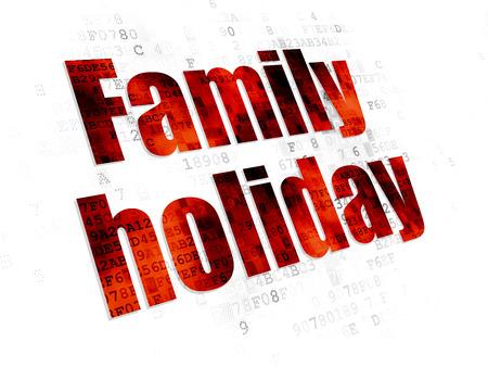 agencia de viajes: Concepto del recorrido: texto rojo Pixelated vacaciones en familia en el fondo digital Foto de archivo