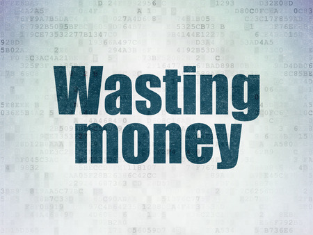 wasting: Money concept: Painted blue word Wasting Money on Digital Paper background