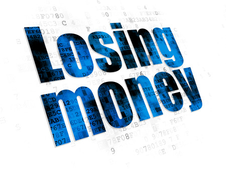 losing money: Banking concept: Pixelated blue text Losing Money on Digital background Stock Photo