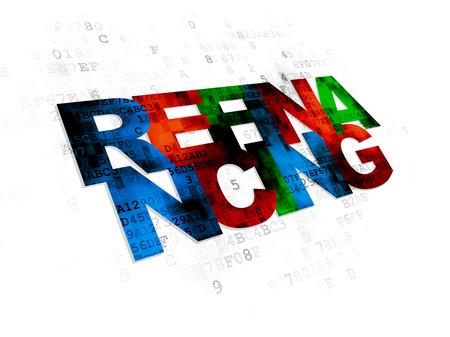 refinancing: Finance concept: Pixelated multicolor text Refinancing on Digital background