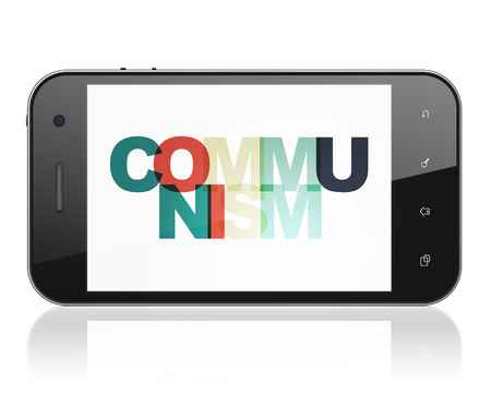 communism: Politics concept: Smartphone with Painted multicolor text Communism on display