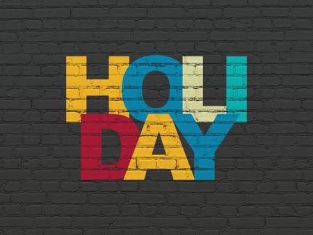 agencia de viajes: concepto de turismo: Pintado texto multicolor de vacaciones en Negro fondo de la pared de ladrillo Foto de archivo