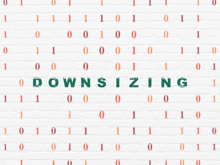 downsizing: Finance concept: Painted green text Downsizing on White Brick wall background with Binary Code