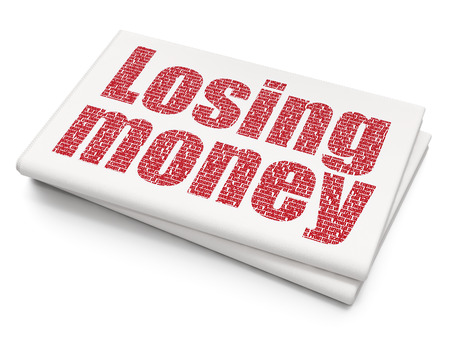 losing money: Currency concept: Pixelated red text Losing Money on Blank Newspaper background