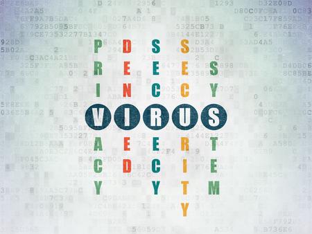 virus informatico: concepto de privacidad: pintado de azul palabra virus en la soluci�n del crucigrama en el fondo de papel digital