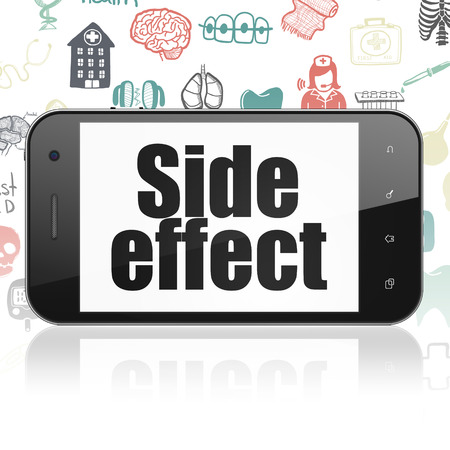 side effect: Health concept: Smartphone with  black text Side Effect on display,  Hand Drawn Medicine Icons background Stock Photo