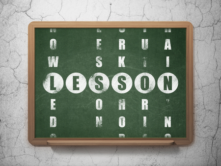 word lesson: Education concept: Painted White word Lesson in solving Crossword Puzzle on School Board background