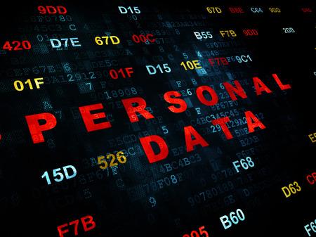 datos personales: Concepto de la informaci�n: pixelada texto rojo Datos de Car�cter Personal en la pared de fondo digital con c�digo hexadecimal