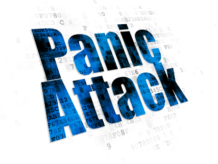 panic attack: Medicine concept: Pixelated blue text Panic Attack on Digital background Stock Photo