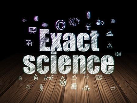 exact: Science concept: Glowing text Exact Science,  Hand Drawn Science Icons in grunge dark room with Wooden Floor, black background Stock Photo