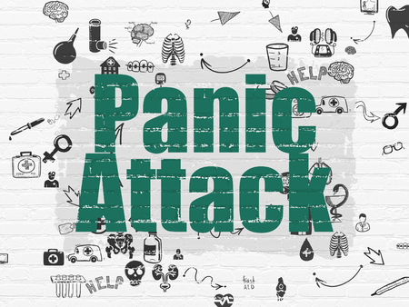 panic attack: Medicine concept: Painted green text Panic Attack on White Brick wall background with Scheme Of Hand Drawn Medicine Icons