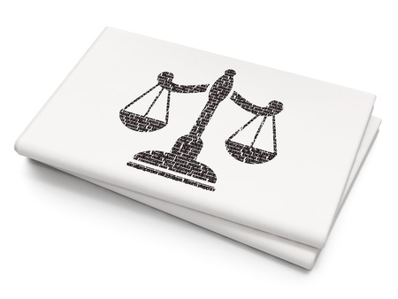 criminal act: Law concept: Pixelated black Scales icon on Blank Newspaper background