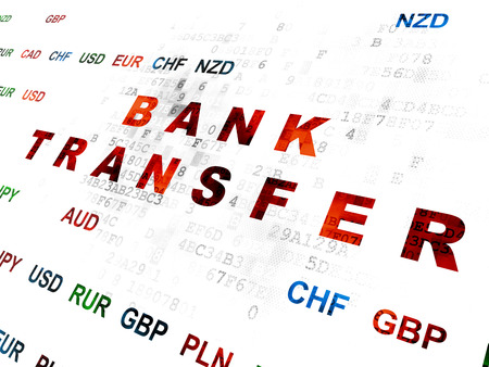 bank overschrijving: Money concept: Pixelated red text Bank Transfer on Digital wall background with Currency