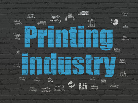 printing industry: Industry concept: Painted blue text Printing Industry on Black Brick wall background with  Hand Drawn Industry Icons