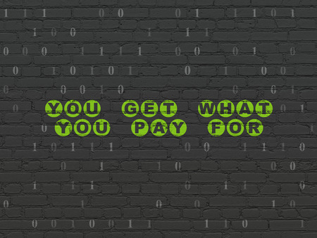 pay wall: Business concept: Painted green text You get what You pay for on Black Brick wall background with Binary Code