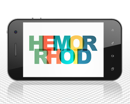 hemorrhoid: Medicine concept: Smartphone with Painted multicolor text Hemorrhoid on display
