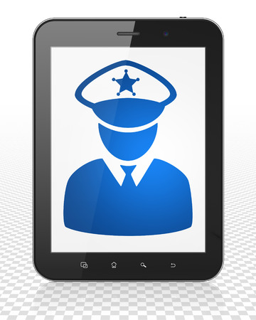 police: Law concept: Tablet Pc Computer with blue Police icon on display