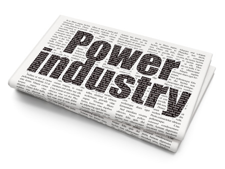 power industry: Industry concept: Pixelated black text Power Industry on Newspaper background