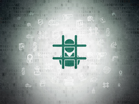 criminal act: Law concept: Painted green Criminal icon on Digital Paper background with  Hand Drawn Law Icons Stock Photo