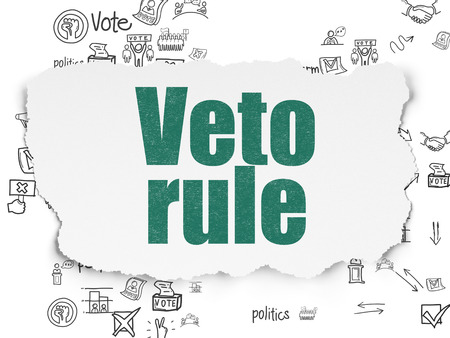 veto: Political concept: Painted green text Veto Rule on Torn Paper background with Scheme Of Hand Drawn Politics Icons
