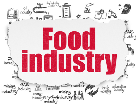 food industry: Industry concept: Painted red text Food Industry on Torn Paper background with  Hand Drawn Industry Icons Stock Photo