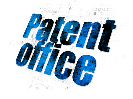 lex: Law concept: Pixelated blue text Patent Office on Digital background