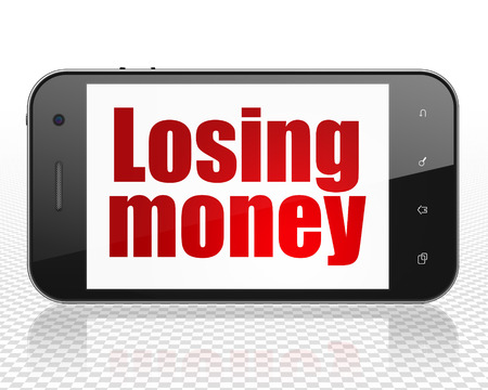 losing: Banking concept: Smartphone with red text Losing Money on display Stock Photo