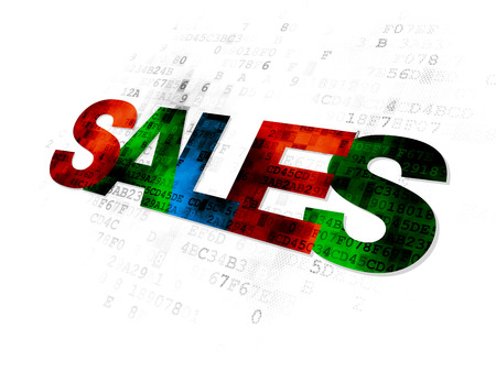 pixelated: Marketing concept: Pixelated multicolor text Sales on Digital background
