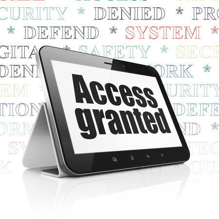 access granted: Privacy concept: Tablet Computer with  black text Access Granted on display,  Tag Cloud background