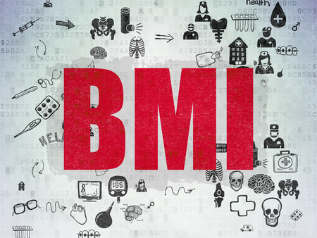 bmi: Health concept: Painted red text BMI on Digital Paper background with Scheme Of Hand Drawn Medicine Icons