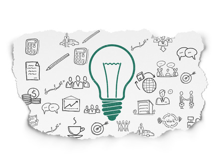 green light bulb: Finance concept: Painted green Light Bulb icon on Torn Paper background with  Hand Drawn Business Icons Stock Photo