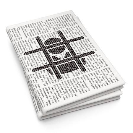 criminal: Law concept: Pixelated black Criminal icon on Newspaper background