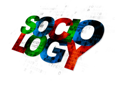 sociology: Learning concept: Pixelated multicolor text Sociology on Digital background Stock Photo