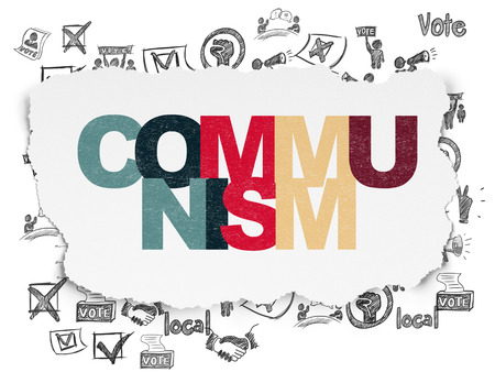 communists: Political concept: Painted multicolor text Communism on Torn Paper background with  Hand Drawn Politics Icons