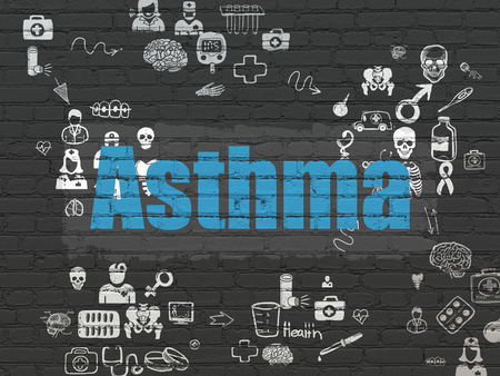 healing process: Medicine concept: Painted blue text Asthma on Black Brick wall background with Scheme Of Hand Drawn Medicine Icons Stock Photo