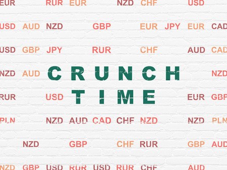 crunch: Finance concept: Painted green text Crunch Time on White Brick wall background with Currency