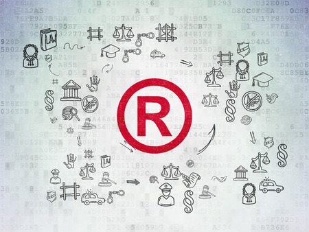 r regulation: Law concept: Painted red Registered icon on Digital Paper background with Scheme Of Hand Drawn Law Icons